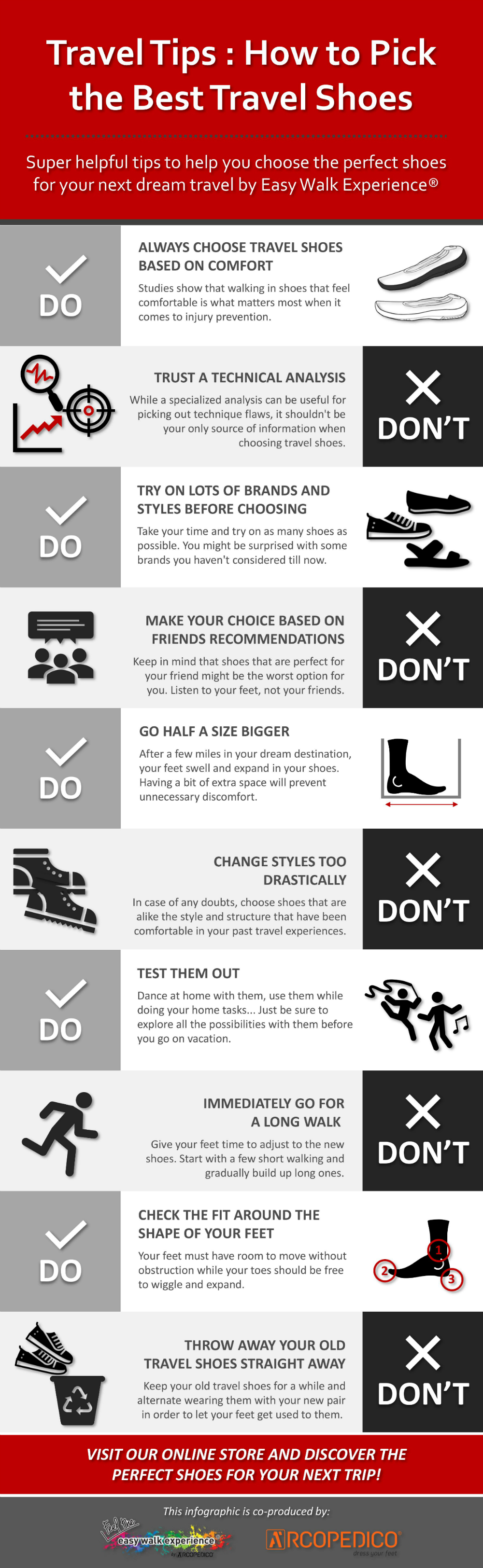 Travel Tips: How to Pick the Best Travel Shoes - If you're gearing up for one of those adventures in one of your dream destinations, an extremely worthwhile tip to keep in mind is when picking the perfect shoes, they must be stylish and yet comfortable. Therefore, you must check this super helpful infographic full of golden tips on how to choose the best travel shoes for your next dream travel. Check it out!
