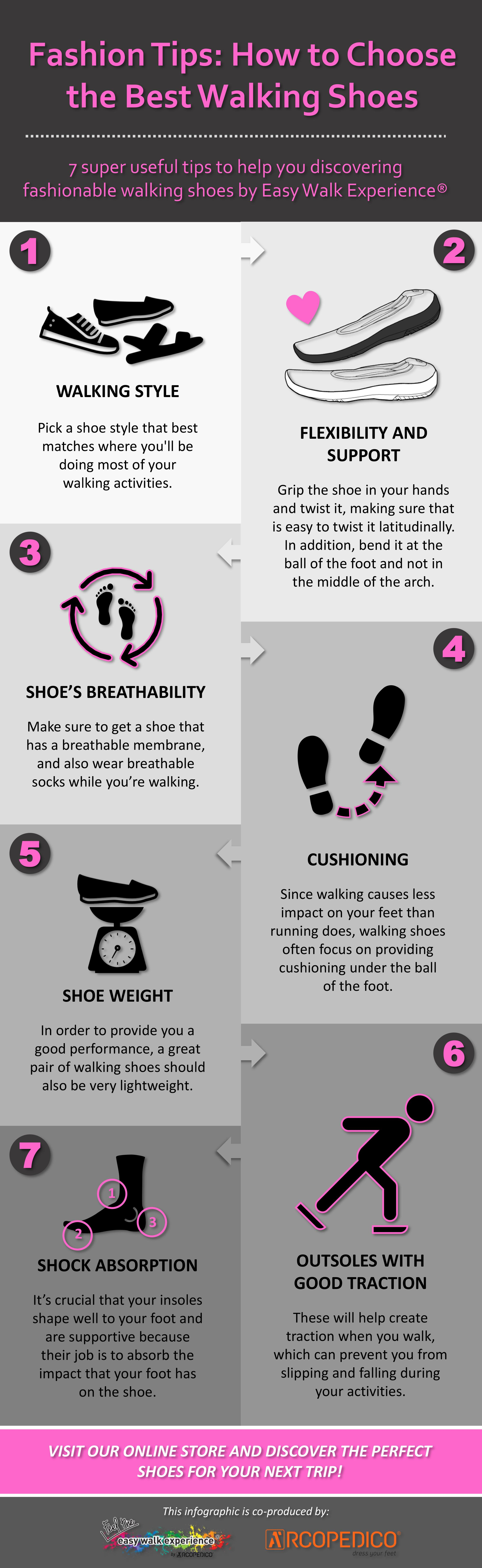 Are you looking for the best walking shoes? Check it out this awesome infographic full of super useful tips to help you discover fashionable walking shoes! ➡ Easy Walk Experience Blog is all about fashion tips, travel inspiration, lifestyle trends and much more.